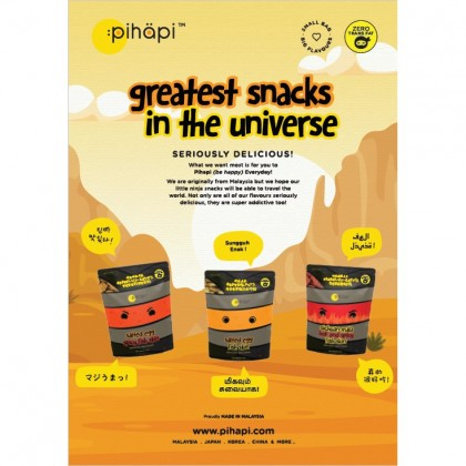 Mixed Flavour 3 packs x 50g Pihapi Fish Skin Snacks (1 Salted Egg + 1 Mild Spicy Salted Egg + 1 Sichuan Mala Hot&Spicy)