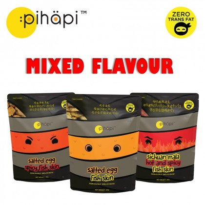 Mixed Flavour 3 packs x 50g Pihapi Fish Skin Titbit (1 Salted Egg + 1 Mild Spicy Salted Egg + 1 Sichuan Mala Hot&Spicy)