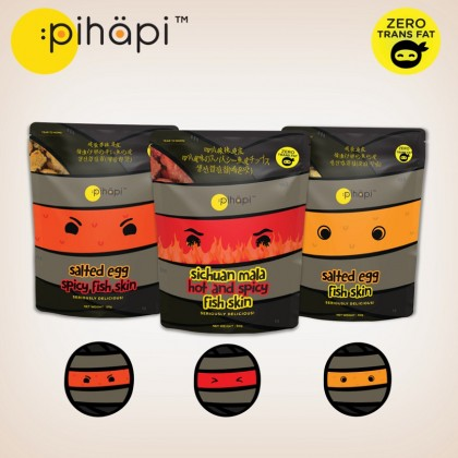 Mixed Flavour 15 packs x 50g Pihapi Fish Skin Snacks (5 Salted Egg + 5 Mild Spicy Salted Egg + 5 Sichuan Mala Hot&Spicy)