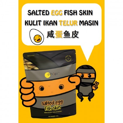 Mixed Flavour 6 packs x 50g Pihapi Fish Skin Titbit (2 Salted Egg + 2 Mild Spicy Salted Egg + 2 Sichuan Mala Hot&Spicy)