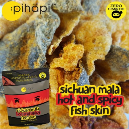 Mixed Flavour 12 packs x 50g Pihapi Fish Skin Snacks (4 Salted Egg + 4 Mild Spicy Salted Egg + 4 Sichuan Mala Hot&Spicy)